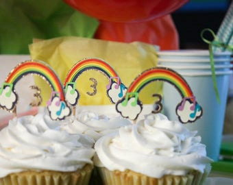 Rainbow Cupcake Toppers, Colourful Party Decorations, Rainbow Party Decorations, First Birthday, Kids Party Decorations