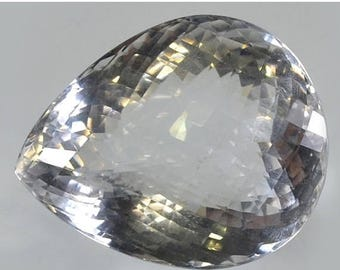 50% SALE A++ Quality 130 Ct. Designer Faceted Cut Natural Crystal Quartz Briolette 38x31x22 mm Handmade Loose Gemstone Making Jewelry