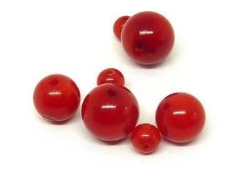Red coral bead Ø 4 mm PF035 has individually gem stone semi precious
