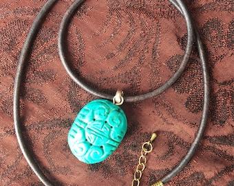 Green Tribal Pendant on Black Leather Cord