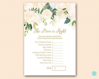 Gold Bluff Bridal Shower Games, Price is Right Bridal Shower Game, Bridal Shower Price is Right,  Price Tag Game, Bridal Shower Game, BS530P