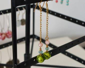Boucles d'oreilles pendantes Gold & Pastel