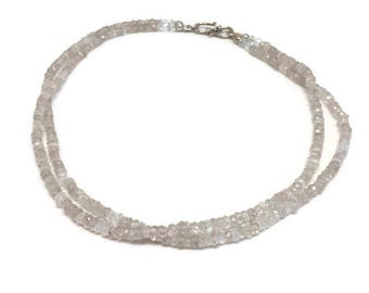 Zircon Necklace with double strand of Natural White Zircon, Double-strand Zircon Necklace, Zircon Bead Necklace