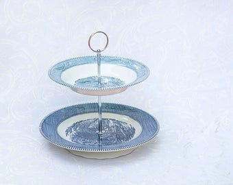 Two Tier Stand, Blue Currier & Ives Royal; Cake Stand, Cupcake stand, Cookie Stand, Dessert Stand, Tea Party, Centerpiece