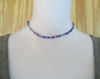 CHOKER NECKLACE/  BEADED Choker/  Dainty Choker/  Seed Bead Choker/  Dainty Necklace/  Beaded Necklace/  Gift For Her/  Periwinkle Choker