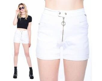Vintage White HIGH WAIST Stretch Moto Biker MOD Hot Pants Short Shorts Glam Rock 90s Does 60s M *Free Shipping U.S.* vtg