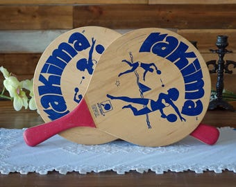 Vintage beach ball paddles - Rakima racquets - Wooden ball paddles - Outdoor game - 1960s