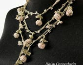 Turkish OYA Lace - Needle lace Necklace  - Lariat [Berry] Pale peach  - Dresses Jewelry