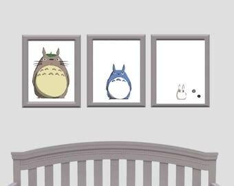 My Neighbour Totoro - Set of three prints -  Nursery Set - Gift - Studio Ghibli - Baby Gift - Adult gift - Animation