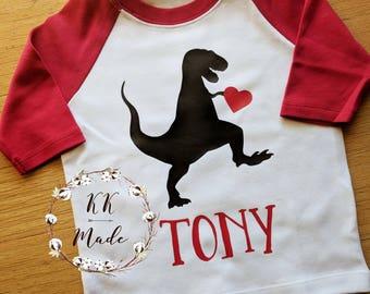 Boys Valentine's day shirt, dinosaur Valentine's day shirt, custom Valentine's day shirt, Valentine's day raglan, toddler Valentine's shirt