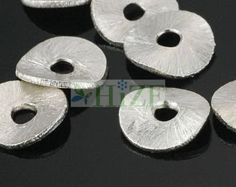 HIZE BB151 925 Bright Sterling Silver Wavy Disc Chip Spacer Beads 8mm (24)