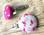 Flamingo Fabric Hair Clips, pretty hair clip, mothers day gift, bridesmaid gift box, fabric button, best friend gift, fabric jewelry
