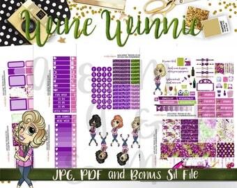 Weekly Kit//Printable Planner Stickers,  Fit EC Planners, Wine Stickers, Wine Winnie