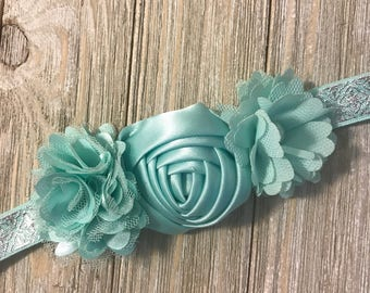 Baby headband, toddler headband, 12 month headband, mint headband, photo prop headband, green headband