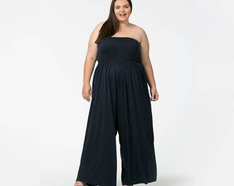 Long Black or Navy Cotton Plus Size Romper - perfect for a balmy day out