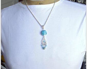 Blue pendant, handmade glass bead, crystal blue jade, metallic details - Jewelry 123Pierres