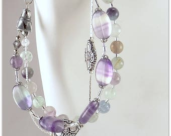 Stones 3 rows bracelet pastel fluorite round and oval - An 123Pierres jewel by MP Bertrand