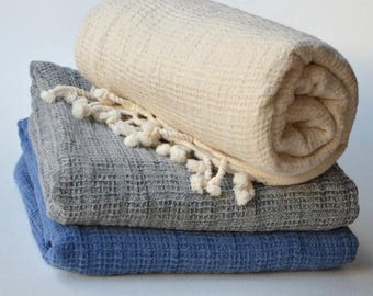 3 LINEN TURKISH TOWEL- Waffle Towel / Linen Bath Towel /Turkish Beach Towel / Linen Towel / Linen  Peshtemal/Soft Linen Towel Ecru,Blue,Gray