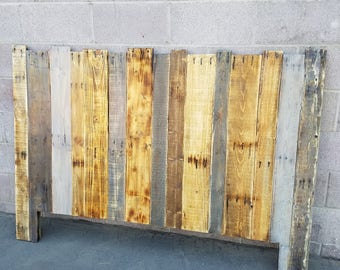 Reclaimed Distressed Pallet Wood Headboard -Queen Size