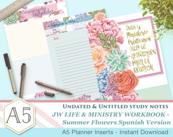Spanish - CLM Meeting Workbook companion notes - SummerFlowers A5 - Printable inserts - Undated Untitled