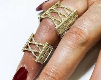 14K Yellow Gold Slave Chain Diamond Ring 1.75CT, Gold Diamond Slave Chain Ring