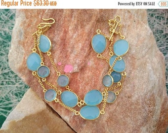On Sale Handmade Blue Chalcedony Bracelet - Gift for Her - Sterling Silver - 23K Micro Gold Plated