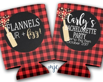 Flannels, Fur and Fizz Buffalo Plaid Bachelorette Party Coolies/Wedding Hugger/Beverage Insulator - Flannel Coolers
