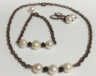 "Copper necklace jewelry set, 3 Pearls necklace,16""Chain necklace, Short necklace, Pearls necklace, Fresh water pearls necklace, Brown"