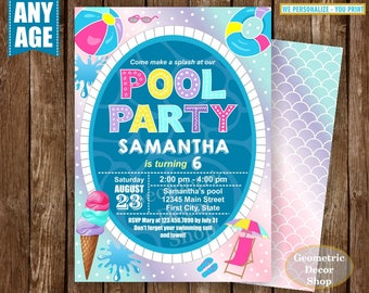 Pool Party Birthday invitation Waterslide pool party invite digital printable Graduation summer party Bash girl pink purple teal BDP23