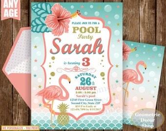 Flamingo Pineapple First Birthday Invitation Pool Birthday invite Printable Luau Hawaiian Party Coral Pink Teal Photo Photograph Gold BDF14