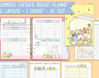 Printable Budget inserts sumikko gurashi a5 size expenses tracker filofax budget planner bill tracker financial inserts pdf instant download