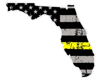 Florida State (E1) Thin Yellow Line Dispatch Vinyl Decal Sticker Car/Truck Laptop/Netbook Window