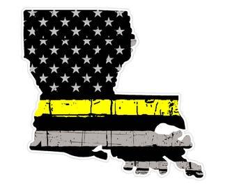 Louisiana State (E19) Thin Yellow Line Dispatch Vinyl Decal Sticker Car/Truck Laptop/Netbook Window