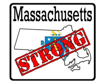 Massachusetts State (K22) Strong Flag Vinyl Decal Sticker Car/Truck Laptop/Netbook Window
