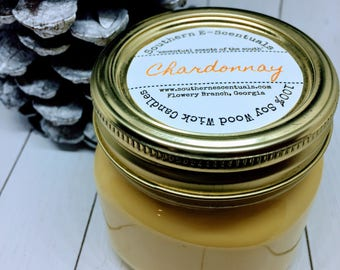 Chardonnay, Wine Candle, White Wine, Soy Candle, Mason Jar Candle, Gift for Wine Lover, Gift for Her, Girlfriend Gift