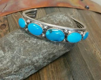 Sterling Silver and Sleeping Beauty Turquoise Cuff