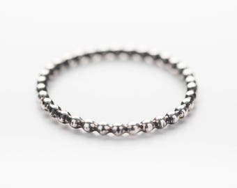 Silver Dainty Beaded Stacking Ring