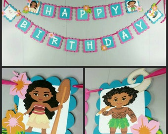 Moana Inspired Happy Birthday Banner