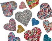 Liberty Print Iron On Hearts/Liberty Print iron on applique Hearts in four sizes/Available in thirty classic Liberty Tana Lawn Prints/diy