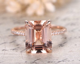 9x11mm Emerald Cut Morganite Ring,14K Rose Gold Morganite Engagement Ring,Emerald Cut Engagement Ring,Diamond Pave Ring,Claw Prong,Solitaire