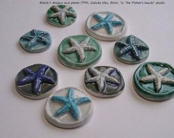 BULK ** WHOLESALE: Starfish 3-D cab 20 30 40 50 pcs ITPH Ceramic pottery mosaic round tile Beach House Pull Decor Magnet Diffuser Jewelry