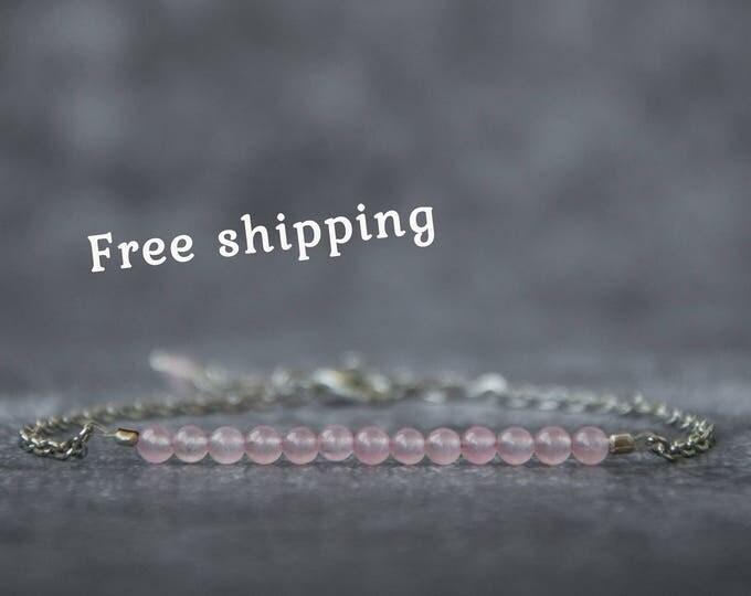 Rose quartz bracelet, Pink stone jewelry, Rosequartz jewelry, Rose quartz bead bracelet, Pink quartz bracelet, Valentine gift for her