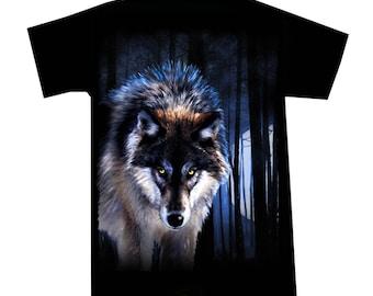 T shirt night Wolf