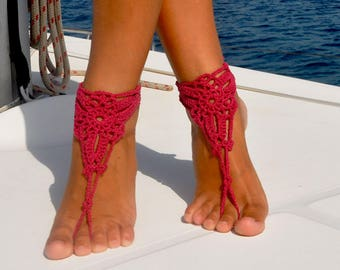 Burgundy Barefoot Sandals, Crochet Barefoot Sandal, Summer Accessory, Beach Party, Boating, Foot Jewelry, Gift for Her