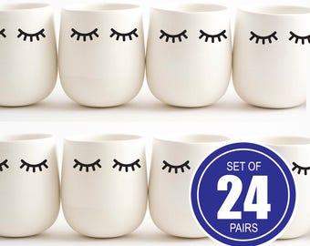 Set of 24 pairs, Eyelashes decor, Sleepy Eyes decor, Eyelash Party Cups, Baby Shower Cups, Eyelash party decor, Sleepy Eyes Wall Decoration
