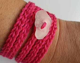 Crochet Wrap Bracelet, Crochet Jewelry, Sea Glass Jewelry, Boho Jewelry, Boho Crochet Bracelet, Cuff Bracelet, Gifts for Her, Gifts for him