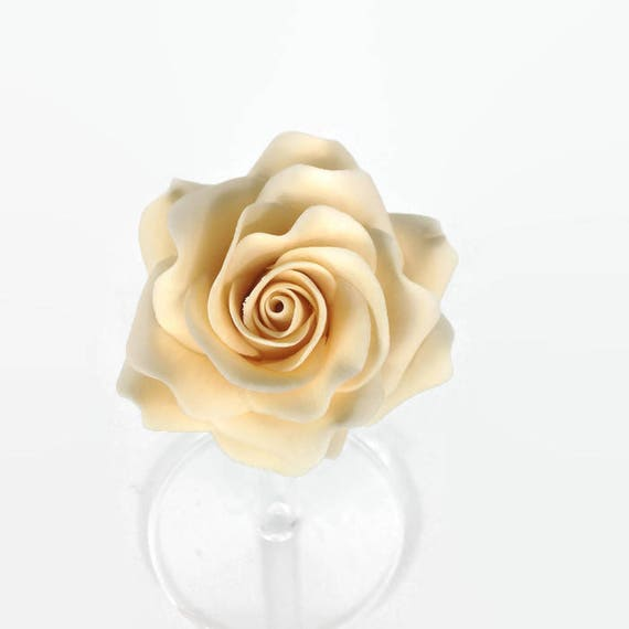 Cream Rose Sugar Flower, Ivory Gumpaste Rose for Modern Wedding Cake Toppers, Cake Decor, DIY Weddings