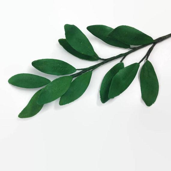Ruscus Leaves, dark green gumpaste leaves Italian Ruscus foliage for wedding cake toppers