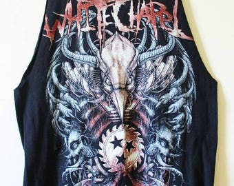 Shredded/Distressed White Chapel Tank Top/Muscle Tee Small