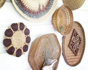 LArge Woven Wall Baskets • Beach House Decor • Bohemian Decor • Set of 8
